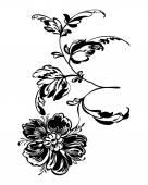 Drawing silhouette black flower — Cтоковый вектор