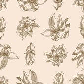 Seamless floral background with magnolia  — Wektor stockowy