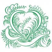 Swirling heart decorative Ecology design — Vector de stock