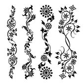 Set swirling decorative flower pattern — Stockvektor