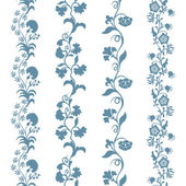 Set seamless trims floral pattern — Stock Vector