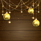 Christmas baubles on wooden background — Stock Vector