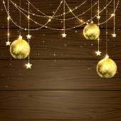 Christmas baubles on wooden background — Vecteur