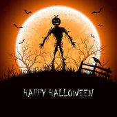 Notte di halloween con mostro — Vettoriale Stock