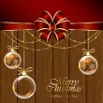 bolas de Natal com fundo de madeira — Vetorial Stock