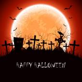 Halloween night at the cemetery — Stock Vector