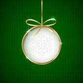Christmas ball on green background — Stock Vector