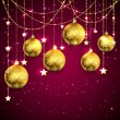 Golden Christmas balls on purple background — Stock Vector #54922423