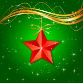 Christmas star on green background — Stock Vector