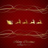 Santa na červené vánoční pozadí — Stock vektor
