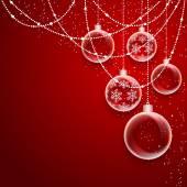 Bolas de navidad sobre fondo rojo — Vector de stock