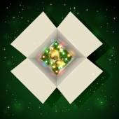 Weihnachts-Geschenk-Box mit Glühbirnen — Stockvektor