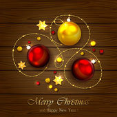 Christmas elements on wooden background — Stock Vector