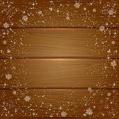 Snö på trä bakgrund — Stockvektor