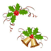 Christmas bells and holly berry with tinsel — Stock Vector