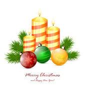 Christmas candles and balls — Stock Vector