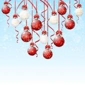 Red and white Christmas balls with snow — 图库矢量图片