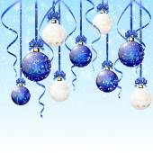 Blue and white Christmas balls on snowy background — Vector de stock
