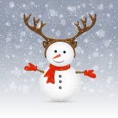 Snowman with antler — Stock Vector