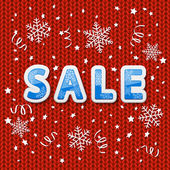 Red knitted pattern with sale — Vector de stock