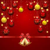 Christmas balls and bells on red background — Stockvektor