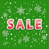Green knitted pattern and sale — Vector de stock