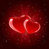 Dwa serca błyszczący — Wektor stockowy