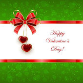 Green Valentines background with hearts and bow — Vector de stock