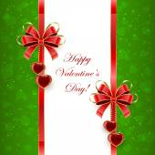 Green Valentines background with hearts — Stock Vector
