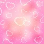 Coeurs transparents sur fond rose — Vecteur