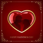 Red Valentines heart with couple — Stock Vector