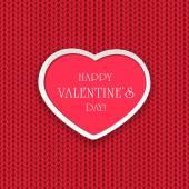 Valentines heart on knitted pattern — Διανυσματικό Αρχείο