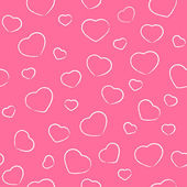 Drawing Valentines hearts on pink — Vector de stock