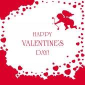 Cupid and Valentines hearts — Vetor de Stock