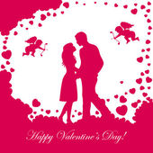 Valentines background with loving couple — Stock Vector