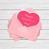 Valentines congratulations on wooden background — Stockvektor
