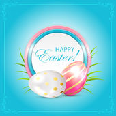 Easter card with eggs and grass — 图库矢量图片