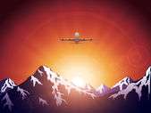 Plane in mountains — Stock Vector