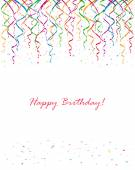 Birthday streamers and confetti — Vector de stock