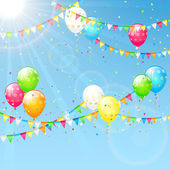 Balloons with pennants and Sun — Stock Vector