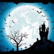Halloween background with castle and spider — Stock Vector #79052344