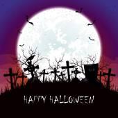 Halloween-Nacht mit Mond auf dem Friedhof — Stockvektor
