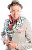 Fashionable male model wearing suit, hat and a scarf — Stockfoto