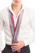 Male model holding two ties round his neck — Foto de Stock