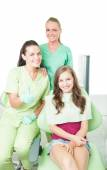 Confident female dentist showing thumbs-up — Stock Photo