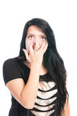 Teen girl making goofy, funny, scarry face — Stock Photo