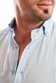 Closeup of a man with open shirt collar — Stock Photo