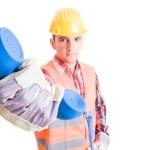 Professional builder handing phone — Stock Photo #72230641