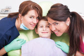 Friendly dental team and kid, boy or child patient — Stock Photo