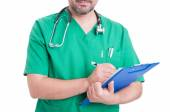 General medic holding clipboard — Stock Photo